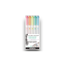 Zebra Mildliner Set of 5 Fluorescents