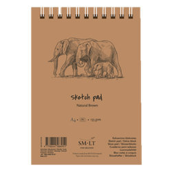 SM.LT authenticpad Coil Sketch Natural Brown A5 135gsm 80shts **ND**