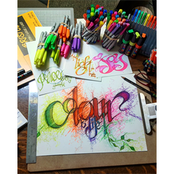 //Done - Blended Lettering Featuring Posca with Deb Elizabeth June 2, 2018