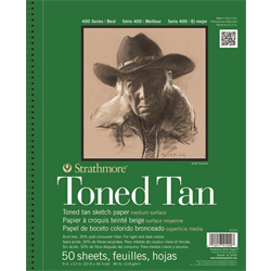 """Strathmore 400 Toned Tan Wire Bound 9"""" x 12"""""""