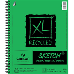 """Canson XL Recycled Sketch Side Coil 9""""x12"""""""