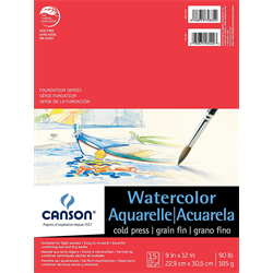 Canson Foundation Watercolor CP Pad 9x12 90lb