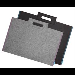 "Itoya Profolio Midtown Bag 22"" x 31"" Grey w/ Purple Threading"