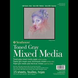 "Strathmore 400 Toned Grey Mix Media Tape Bound 9""x12"""