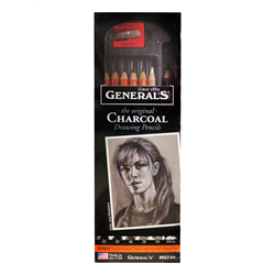 Charcoal Pencil Set Assorted Degrees with Carbon Sketch & Sharpener
