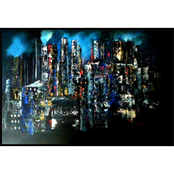 """//done - """"Night Scape"""" Acrylic Painting Class with Kathleen Kolba, February 21"""