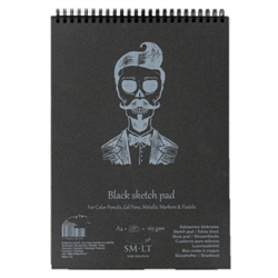 SM.LT authenticpad Coil Sketch Black A5 165gsm 20shts **ND**